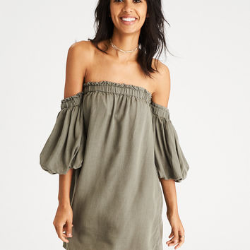 AE Bubble-Sleeve Off-the-Shoulder Dress, Olive