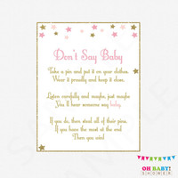 Don't Say Baby, Twinkle Twinkle Little Star Baby Shower, Printable baby shower, clothes pin game, pink gold, girl baby shower download, STPG