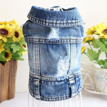 Trendy New 2018 Denim Pet Dog Clothes Pets Coat Cave Cowboy Puppy Dog Clothes for Dog XS-2XL Jeans Jacket Casual Style AT_94_13