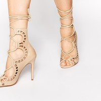Windsor Smith Gillie Bone Tie Up Peep Toe Shoes