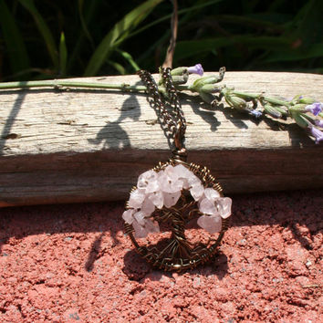 Rose Quartz Tree Of Life Necklace Pendant On Brown Chain Wire Wrapped Wedding Jewelry