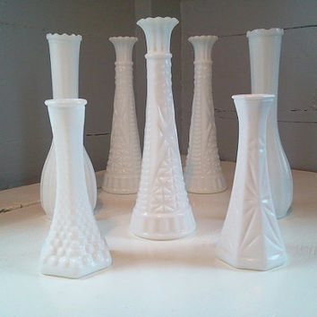 Vintage, Milk Glass, Vases, White, Bud Vase, Flower Vase, Wedding