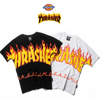 Thrasher flame Bat Sleeve Cotton Loose T-Shirt top