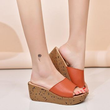Leather Slip Casual Wedges Sandals