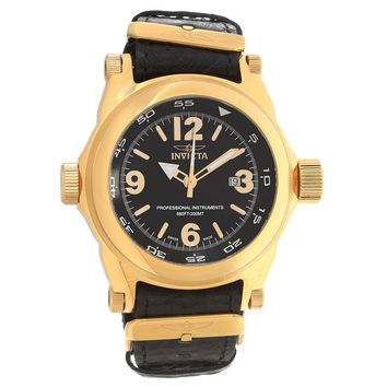 Invicta 17668 Men's I Force Black Dial Yellow Gold Steel Black Leather Strap Dive Watch