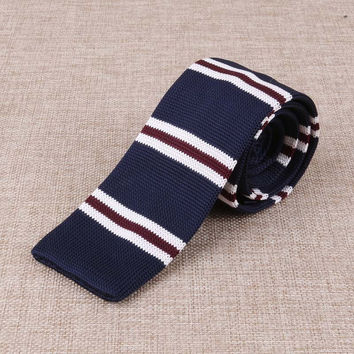 Navy Blue Knitted Tie with White and Maroon Accent Design