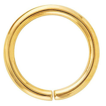 14K Yellow Gold Seamless Ring Nose Hoop Cartilage Earring 22G 1/4""
