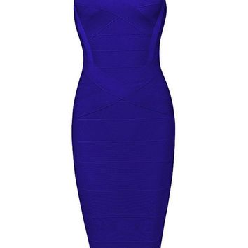 Honey Couture LEONIE Dark Blue Midi Bandage Dress