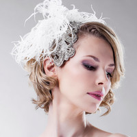 Bridal Headpiece - Swarovski Crystals - Natural Bandeau Off White - Feathery Headband - Vintage Inspired - Romantic Weddings - Feather
