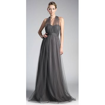 Tulle Infinity Style Long Bridesmaid Dress Charcoal