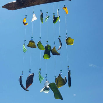 Forest - Sea Glass Wind Chime, Green Glass, Brown Glas, White Glass, Reclaimed Glass, Sun Catcher, Wire Wrapped with Beads