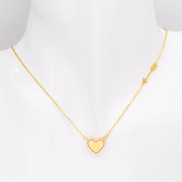 2017 New Fashion Design Six Style Arrow And Love Heart Necklace Stainless Steel Women Luxury Jewelry Best Gift For Wedding