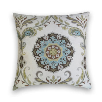 Suzani Decorative Pillow Cover-20 x 20 Throw Pillow- Blue, Yellow, Brown, Green, White