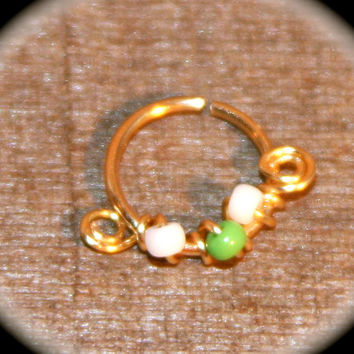 Small Nose Ring,  22 20 18 16 gauge White and Lime Green Cartilage Ring, Nose Hoop, Helix Hoop, Nose Rings, Septum Hoop Piercing Jewelry