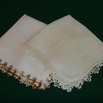 Vintage White Cotton Handkerchiefs Hankies Tatted Edges Pair Crochet Wedding Bridal
