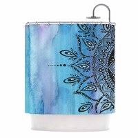 "Li Zamperini ""Blue Mandala"" Aqua Black Shower Curtain"