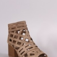 Qupid Geo Cutout Chunky Heeled Booties