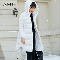 Minimalist Women 90% White Duck Down Coats Loose Knee Length Padded Jacket With Hooded
