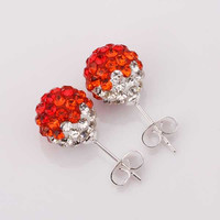 african beads earrings red round crystal stud brincos de festa joyas SBE1 2 MP