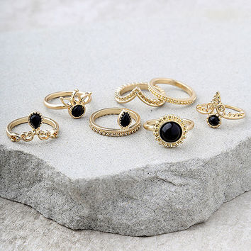 Sacred Lotus Black and Gold Ring Set