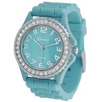Teal Ceramic Style Silicone Gel Band Crystal Bezel Women's Watch