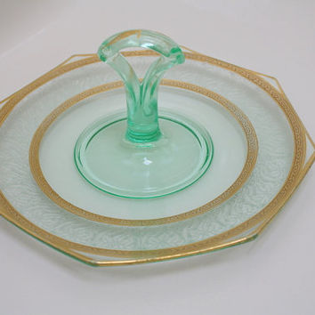 Depression Glass Center Handled Server, Gold Encrusted and Etched.  Elegant Glass Serving Plate.