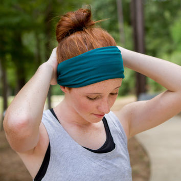 Green Teal Headband, Yoga Sports Wrap, Running Head Wrap, Stretchy Bamboo Headwrap, Solid (Item 1401) LARGE