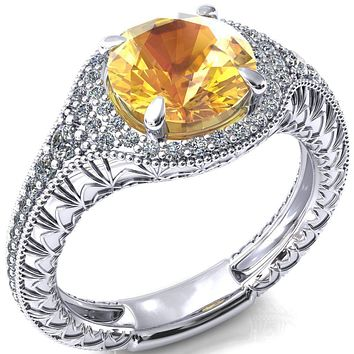 Kylee Round Yellow Sapphire Accent Diamond Milgrain and Filigree Design 4 Prong Engagement Ring