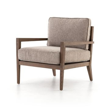 AMARE WOOD FRAME ACCENT CHAIR - HONEY WHEAT
