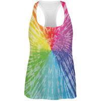 Rainbow Pride LGBT Tie Dye All Over Womens Work Out Tank Top