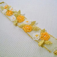 Flower bracelet with handmade flowers in the colours white, orange and gold, decorated bracelet for special occasions, bridal bracelet
