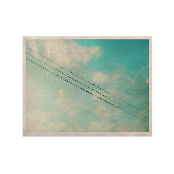 """Sylvia Cook """"Birds on Wires"""" Teal Sky KESS Naturals Canvas (Frame not Included)"""