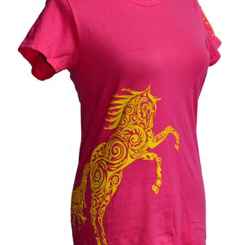 Paisley Pony Horse T-shirt WOMEN'S Cut