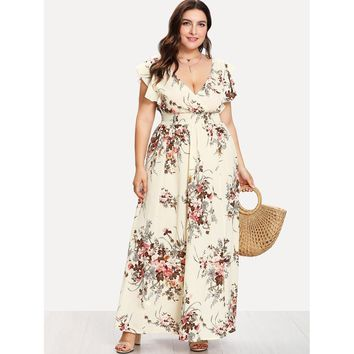 Plus Flounce Trim Shirred Waist Floral Dress Multi