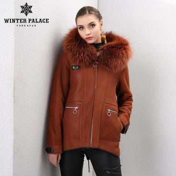 classic woman Shearling coat Hoode Sheepskin coat Fashion Fur coat Orange Colour Winter fur coat Fox fur Cap collar