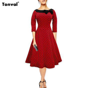 Tonval Women Vintage Polka Dot 40s 50s Swing Dress Cute Bow Elegant Evening Retro Party Rockabilly Dresses