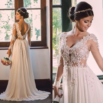 Sexy Backless Long Sleeve Beading Beach Wedding Dresses Customized Chiffon Vestido De Festa Longo Romantic Bridal Gowns 2016