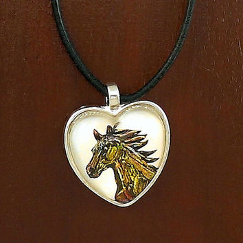 Colorful Painted Horse Heart Pendant Necklace with Black Leather Cord
