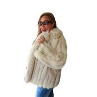 Rabbit Fur Jacket Long Custom Furrier Coat