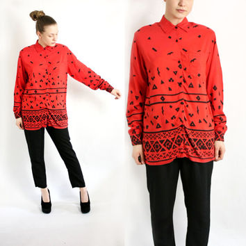 Vintage 80's Red Abstract Print Shirt Blouse Collared Long Sleeve