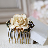 Ivory Rose Hair Comb. Ivory Cream Rose with Gold Petals, Antique Brass Filigree Hair Comb, Vintage Inspired Shabby Chic, Bridal Wedding Comb