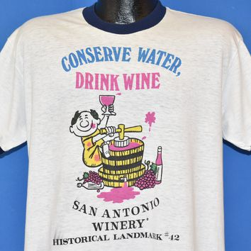 80s Conserve Water Drink Wine Ringer t-shirt Large