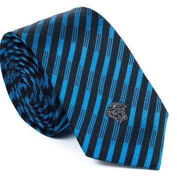 Gianni Versace Striped Black and Blue Silk Tie