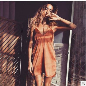 ESBONG Patchwork Backless Wrap Spaghetti Strap One Piece Dress [10467444564]