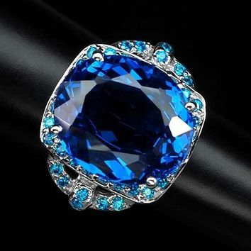 Stunning 17.4CT Oval Cut Swiss Blue Topaz Pariaba Blue Apatite Halo Ring
