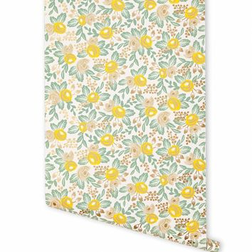 Rosa (Yellow) Wallpaper by RIFLE PAPER Co.   Made in USA