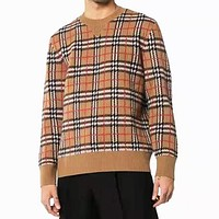 BURBERRY Autumn Winter Fashion Men Casual Classic Plaid Knit Sweater Sweatshirt Top Khaki