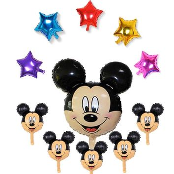 11pcs minnie mickey head set foil balloons and mini mickey head helium balloons for mickey birthday party ballons