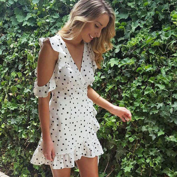 Deep V Sexy Vacation Summer Polka Dots One Piece Dress