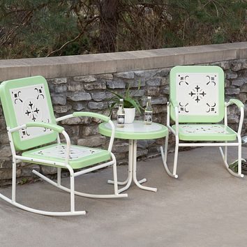 Mint Green Retro Patio 3 Piece Metal Rocker Rocking Chair Set